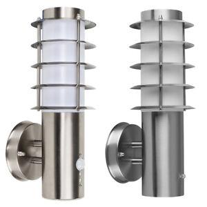Stainless Steel Outside Garden Wall Light PIR Motion Sensor IP44 Lantern Light