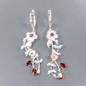 Handmade jewlry Garnet Earrings Silver 925 Sterling   /E57368