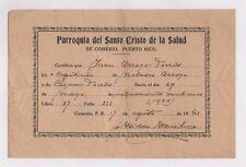 VTG CERTIFICATE / PARROQUIA SANTO CRISTO DE LA SALUD  / COMERIO PUERTO RICO 1943