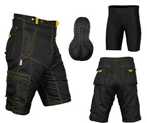 MTB Cycling Shorts,Mountain Bike,Off Road,Cool Max Padded Inner Lycra Liner(Y/S)