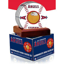 LA ANGELS OF ANAHEIM GAME USED STADIUM DIRT COASTERS + DISPLAY BASE STEINER MLB