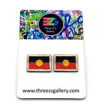 Wooden Aboriginal Flag stud earrings