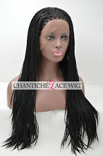 Hot Micro Braided Lace Front Synthetic Wigs For Black Women Long Black Wig 20''