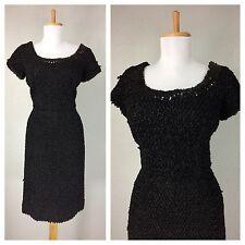 VINTAGE 1950s 60s BLACK SOUTACHE COCKTAIL PARTY SEQUIN WIGGLE DRESS S