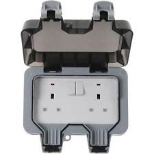 BG Electrical 2 Gang Weatherproof Outdoor Switched Socket Double Pole Outside