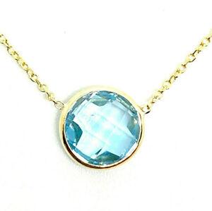 14K Yellow Gold 2.60ct Round Cut Blue Topaz Bezel Pendant Chain Adjust Necklace
