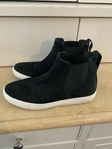 Vince Newlyn High Top Slip On Sneakers Shoes Size 8.5 M Black Suede