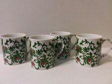 (4) WILLIAMS SONOMA RED FLOWER VINE CUPS/MUGS - JAPAN