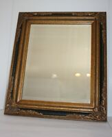 "Black and Gold Wood Framed Wall Beveled Mirror 23.25"" x 27.25"""