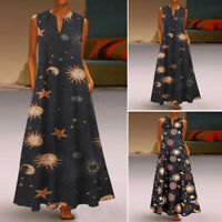 UK Womens Sleeveless Printed Dress Casual Baggy Kaftan Maxi Dresses Side Pockets