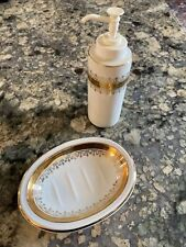 Vintage Andre Richard Ceramic Soap Dish and Dispenser Set White with Gold Trim