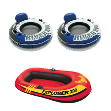 Intex Inflatable 2 Person Raft w/ Intex 1-Person Inflatable Tube (2 Pack)
