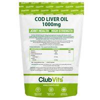 Cod Liver Oil 1000mg High Strength 365 Capsules Joint Omega 3 EPA DHA | ClubVits