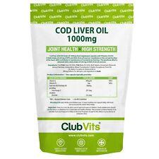 Cod Liver Oil 1000mg High Strength 365 Capsules Joint Omega 3 EPA DHA ClubVits