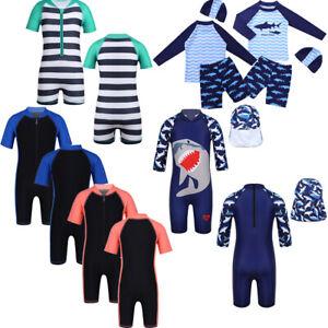 Kids Childrens Boys Shark Swimsuit Swimwear Surf Bathing Suit Beach Swimming Set