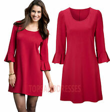 Viscose Patternless Round Neck Mini Dresses for Women