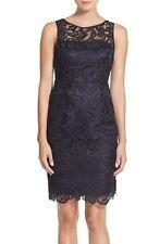 NEW! Adrianna Papell Illusion Bodice Lace Sheath Dress Dark Navy  [SZ 8 ] #41