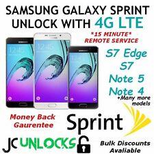 4G LTE Remote Sprint Samsung Galaxy S7 Edge Note 5 4 S6 GSM SIM Unlock Service