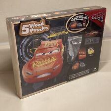 Disney Pixar Cars Planes 5 Wood Puzzles With Tray Storage Box Cardinal