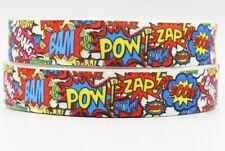 "1m SUPER HERO BAM BOOM ZAP POW CHARACTER RIBBON 1"" 25mm BOW CAKE BOARD RIBBON"
