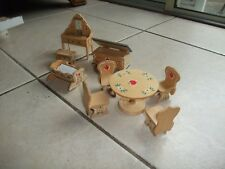 PA Dutch Design Vintage Wooden Doll House Furniture, 4 pieces, Chadwick
