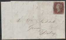 1841 SG7 1d RED BROWN - BLACK PLATE 9 SCOTTISH COVER GLASGOW TO DALRY (QL)