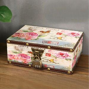 US Wooden Decorative Trinket Boxes Storage Jewelry Box Treasure Chest Wit