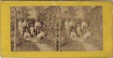 Scène de genre Jeu ancien France Photo Stereo papier albumine ca 1860-65
