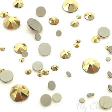 144 Mixed Sizes 2mm-6mm 2058/2088 Swarovski Flatback nail art CRYSTAL AURUM Gold