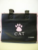 Small Treasures Leather Cat Carrier Black Pet Carrier Travel Bag