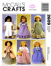 "McCall's Pattern 2609 18"" Historical Doll Clothes dress skirt top coat bolero"