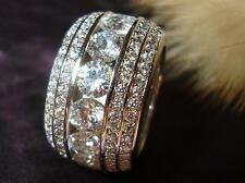 STUNNING 18K WHITE GOLD PLATED CZ CUBIC ZIRCONIA ETERNITY  BAND RING size 10
