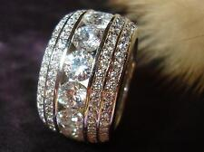 STUNNING 18K WHITE GOLD PLATED CZ CUBIC ZIRCONIA ETERNITY  BAND RING size 5