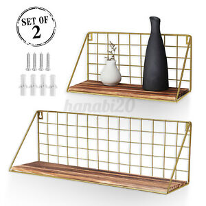 2x Industrial Wall Mounted Shelf Metal Wire Floating Shelves Wooden Storage Rack