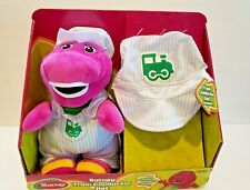 """Fisher-Price Barney 12"""" Plush Doll Train Conductor & Hat For Child"""