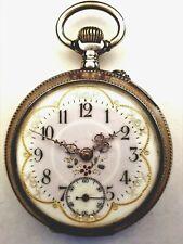 sehr schöne antike Taschenuhr, Silber, wunderschöne Emailleziffernblatt (k)