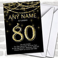 Black & Gold Sparkly Garland 80th Birthday Party Invitations
