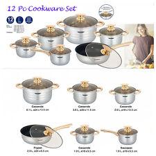 12PCS CALIDAD DE LUJO S/S Acero Cazuela Olla Pan Juego de Cocina de inducción