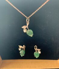 Sterling Silver Pendant and Earrings Set, small pearl and semi precious stone