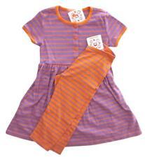 New Girls Hanna Andersson Purple Orange Striped Playdress & Capri Leggings 120 6
