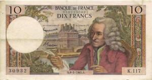 Billet de 10 f. Voltaire du 8/1/1965 K.117 sans trou dans son jus F. 62/12