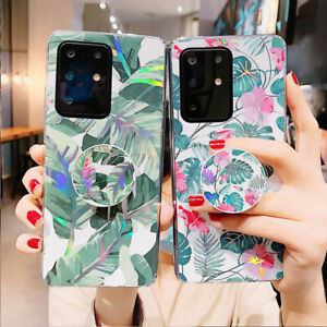 Women Floral Silicone case Cover For Samsung S20 S9 S10 S8 A71 A51 Socket Holder