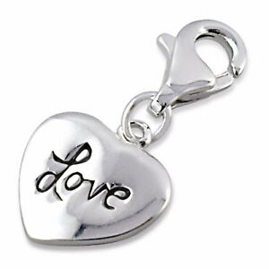 Silvadore LOVE HEART 925 Sterling Silver Clip On Charm Bracelet Box 408
