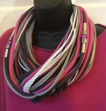 Designer Paloule Scarf In Cerise Pink And Greys With Movable Beads