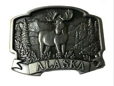 Eskimo Juneau Denali Park Mountains Animal Vtg Alaska State Belt Buckle Bear