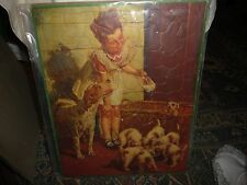 #325A vtg TRAY PUZZLE little girl Feeding puppies w dog Anderson Walzer