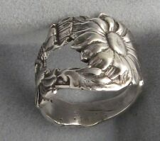 Silver Spoon Oxidized  Vintage with Sunflower Design Spoon Adjustable Ring