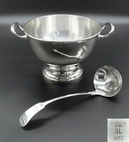 HEAVY WMF PUNCH BOWL SOUP TUREEN ICE BUCKET TWIN HANDLE SILVER PLATED WITH LADLE
