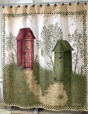 Outhouses Shower Curtain | Country Decor Outhouse Fabric Shower Curtain