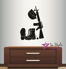 Vinyl Decal Fallen Soldier Symbol Military Man Boots Helmet Gun Wall Sticker 936